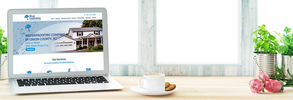 waterproofing contractor union county nj website on laptop